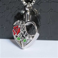 """I Love You"" Heart With Red Rose Cremation Pendant (Chain Sold Separately)"