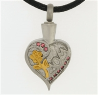 Mom Heart With Gold Flower and Pink Stones Cremation Pendant (Chain Sold Separately)