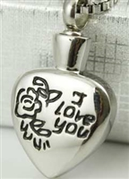 """I Love You"" On Heart Cremation Pendant (Chain Sold Separately)"