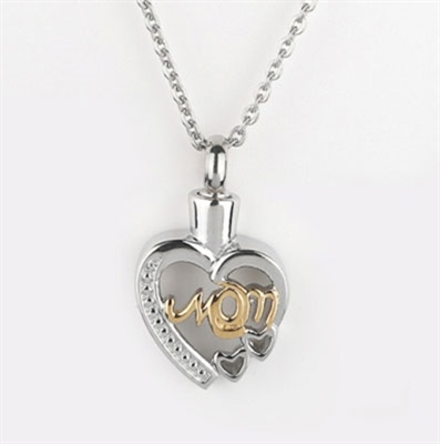 Gold and Silver Mom Heart Cremation Pendant (Chain Sold Separately)