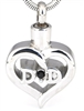 Dad Heart With Dark Rhinestone Cremation Pendant (Chain Sold Separately)