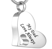 """My Dad Love Always"" Heart Cremation Jewelry Pendant (Chain Sold Separately)"
