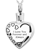 I Love You Forever and Always Heart Cremation Pendant (Chain Sold Separately)