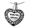 With Me Always Heart Cremation Pendant (Chain Sold Separately)