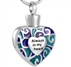 Blue and Green Always In My Heart Cremation Pendant (Chain Sold Separately)