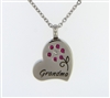 Grandma With Pink Flower On Heart Cremation Pendant (Chain Sold Separately)