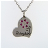 Daughter With Pink Flower On Heart Cremation Pendant (Chain Sold Separately)