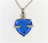 Blue Heart Cremation Pendant (Chain Sold Separately)