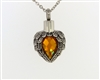 Angel Wings Wrapped Around Citrine Colored Stone Cremation Pendant (Chain Sold Separately)