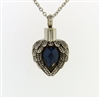 Angel Wings Wrapped Around Dark Blue Sapphire Colored Stone Cremation Pendant (Chain Sold Separately)