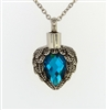 Angel Wings Wrapped Around Aquamarine Colored Stone Cremation Pendant (Chain Sold Separately)
