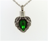 Angel Wings Wrapped Around Emerald Colored Stone Cremation Jewelry Pendant (Chain Sold Separately)