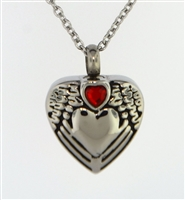 Small Red Heart On Angel Wings Around Heart Cremation Pendant (Chain Sold Separately)
