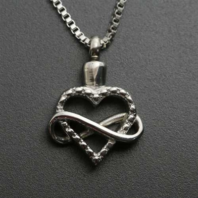 Infinity Loop Around Heart Cremation Pendant (Chain Sold Separately)