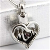 Mom Heart With Red Stone Cremation Pendant (Chain Sold Separately)