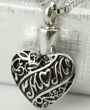 Black And Silver Mom Heart Cremation Pendant (Chain Sold Separately)