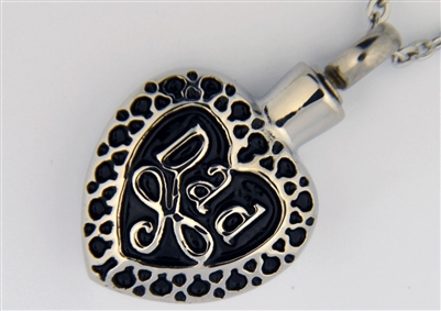 Black And Silver Dad Heart Cremation Pendant (Chain Sold Separately)