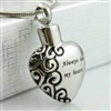 Always In My Heart With Scroll Design Cremation Jewelry Pendant (Chain Sold Separately)