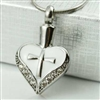 Cross On White Heart Cremation Pendant (Chain Sold Separately)