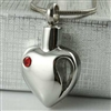 Missing Piece Of Heart With Red Stone Cremation Pendant (Chain Sold Separately)