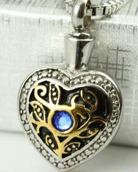 Gold and Silver Heart With Blue Stone Cremation Pendant (Chain Sold Separately)