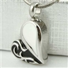Black and White Heart Cremation Pendant (Chain Sold Separately)
