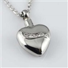 Heart With Rhinestone Ribbon Cremation Pendant (Chain Sold Separately)