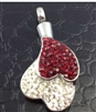Red and White Dripping Heart Cremation Pendant (Chain Sold Separately)