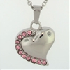 Heart With Pink Stones Cremation Pendant (Chain Sold Separately)