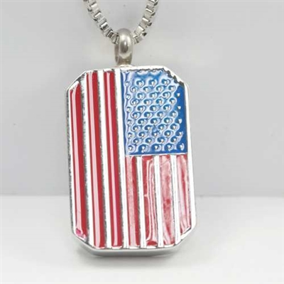 American Flag Dog Tag Cremation Pendant (Chain Sold Separately)