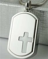 White Cross On Dog Tag Cremation Pendant (Chain Sold Separately)