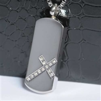Rhinestone Cross On Dog Tag Cremation Pendant (Chain Sold Separately)