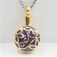 Gold Cremation Pendant With Floral Design (Chain Sold Separately)
