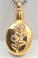 Gold Cremation Pendant With Rose (Chain Sold Separately)