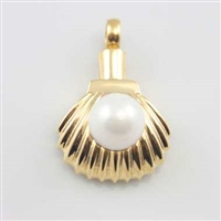 Gold Shell With Pearl Cremation Pendant (Chain Sold Separately)