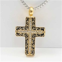 Black And Gold Cross Cremation Jewelry Pendant (Chain Sold Separately)