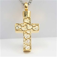 Hearts On Gold Cross Cremation Pendant (Chain Sold Separately)