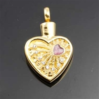 Heart and Rhinestones On Gold Heart Cremation Pendant (Chain Sold Separately)
