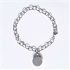 Link Cremation Bracelet With Round Pendant