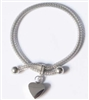 Snake Cremation Bracelet With Heart Pendant