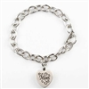 Link Cremation Bracelet With Mom Heart Pendant