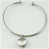 Bangle With Small Heart Cremation Bracelet