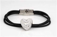 Rubber Cremation Bracelet With Sparkly Heart