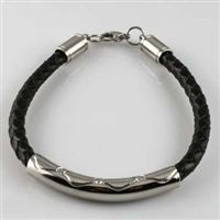 Braided Black Leather and Stainless Steel Cremation Bracelet