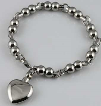 Ball Link Cremation Bracelet With Heart