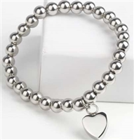 Ball Cremation Bracelet With Flat Heart