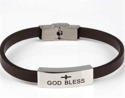 """God Bless"" Cremation Bracelet With Brown Band"