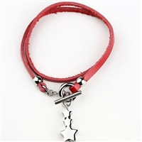 Red Bracelet With Heart Pendant Cremation Bracelet