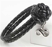 Black Cremation Bracelet With Infinity Pendant