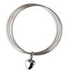 Triple Bangle Cremation Jewelry Bracelet With Heart